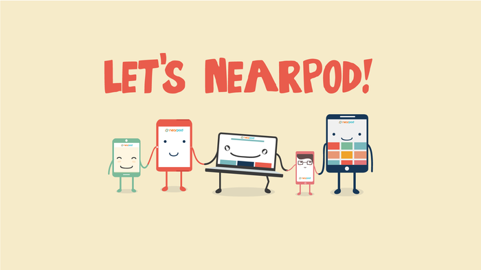 "cartoon characters of technology devices holding hands, picture says ""lets nearpod!"""
