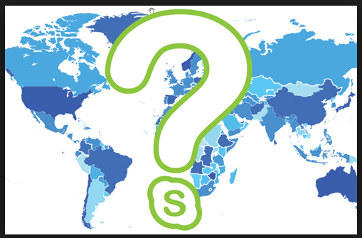 picture of the world and a question mark with the skype logo.