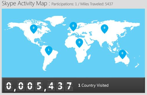 Picture of the world with skype locations on continents we have visited, and how many miles we have traveled through skype.